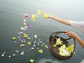 6.故人をイメージした花を海へ