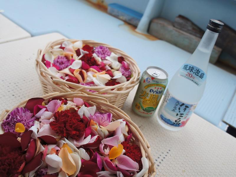 4.献花と泡盛・オリオンビール