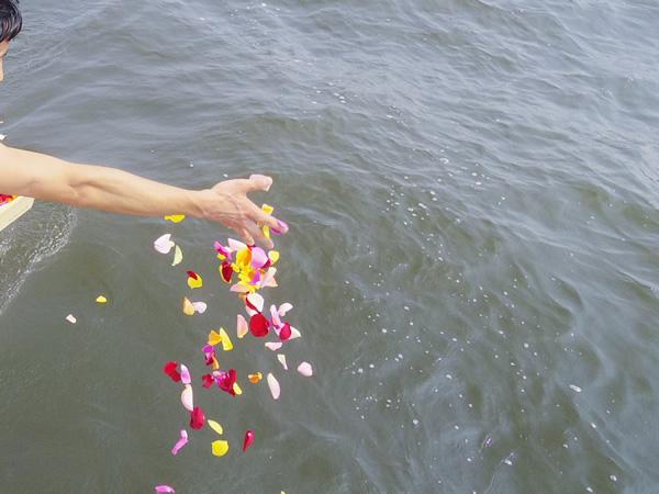 1.散骨を終え献花